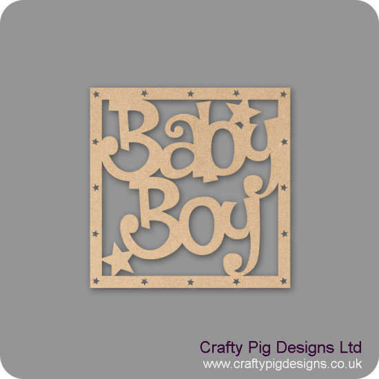 3mm MDF Square Baby Boy plain box topper - with star cut out border