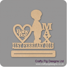4mm mdf Baby Boy Plinth Single Row Date And Vertical Name Baby Shapes