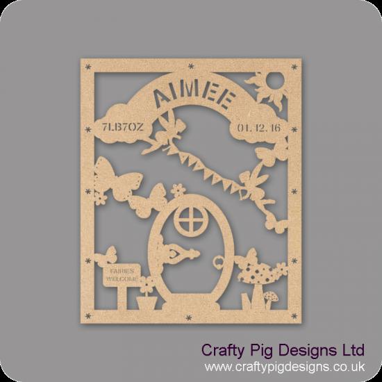 3mm MDF Baby Girl Birth Plaque - Fairy Door Design Baby Shapes