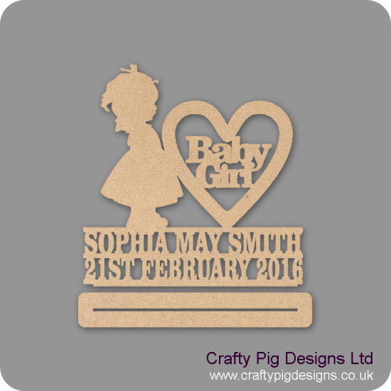 4mm mdf Baby Girl Plinth Double Row Name And Date