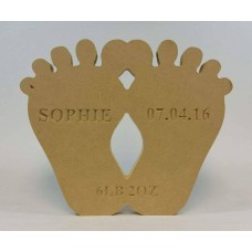 18mm Freestanding Baby Feet (with Personalised Name, Date and Weight Engraving)(200mm) Baby Shapes