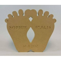 18mm Freestanding Baby Feet (with Personalised Name, Date and Weight Engraving)(200mm)