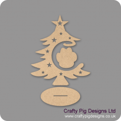 3mm MDF Paw Bauble and Tree on Stand