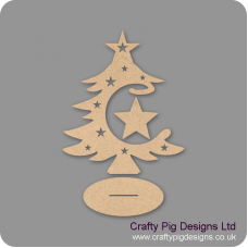 3mm MDF Star Bauble and Tree on Stand Christmas Shapes