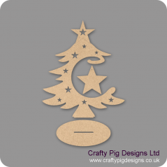 3mm MDF Star Bauble and Tree on Stand