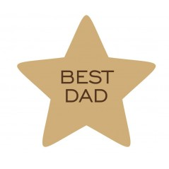 18mm Best Dad Daddy Grandad Engraved Star  (choice of wording)(150mm) Fathers Day