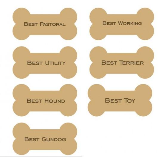 18mm Engraved Dog Bone (choose from options) 18mm MDF Engraved Craft Shapes