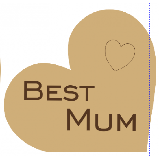 18mm Freestanding Heart Engraved Best Mum with heart Mother's Day
