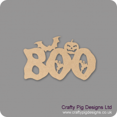 3mm MDF BOO word with ghost (by width)