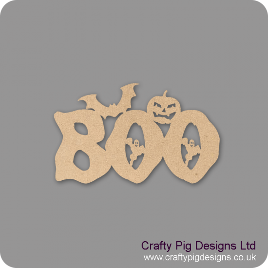 3mm MDF BOO word with ghost (by width) Halloween