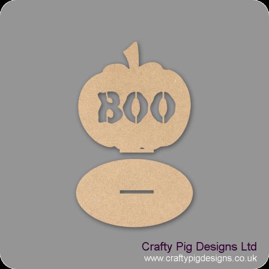 3mm MDF Boo Pumpkin on plinth Halloween
