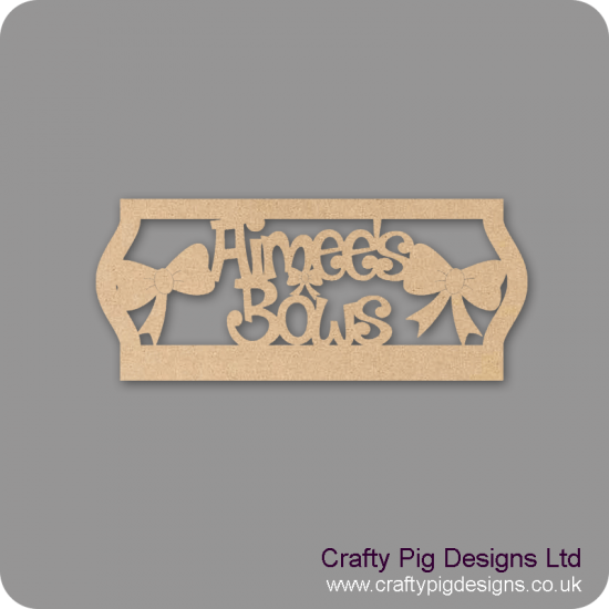 4mm MDF Personalised Bow Hanger with Frame Personalised and Bespoke
