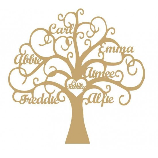 3mm MDF Personalised Tree - Our Family