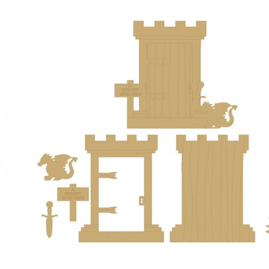 3mm MDF Castle Fairy Door for Boys with sword, dragon and sign Fairy Doors and Fairy Shapes