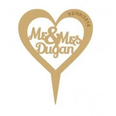 3mm MDF Heart - Mr & Mrs (surname) - Wedding Cake topper -  engraved date