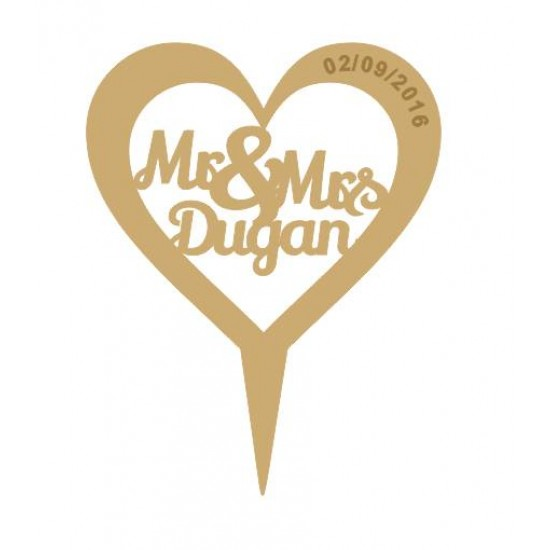 3mm MDF Heart - Mr & Mrs (surname) - Wedding Cake topper -  engraved date  Personalised and Bespoke