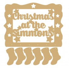 3mm MDF Personalised Christmas Sign With Hanging Stockings Quotes & Phrases