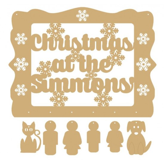 3mm MDF Personalised Christmas Sign With People & Pet Options Quotes & Phrases