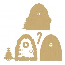 3mm MDF New Christmas Fairy door with cane, tree, wreath and handle Fairy Doors and Fairy Shapes