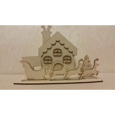 3mm MDF Christmas House Scene with reindeer and sleigh Fairy Doors and Fairy Shapes
