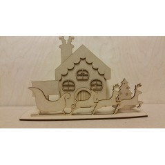 3mm MDF Christmas House Scene with reindeer and sleigh