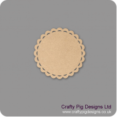 3mm MDF Circular Scalloped Edged plaque with Cut Outs Basic Plaque Shapes