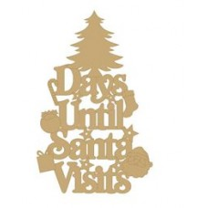 3mm MDF Days Until Santa Visits (Xmas Tree Top) Chalkboard Countdown Plaques