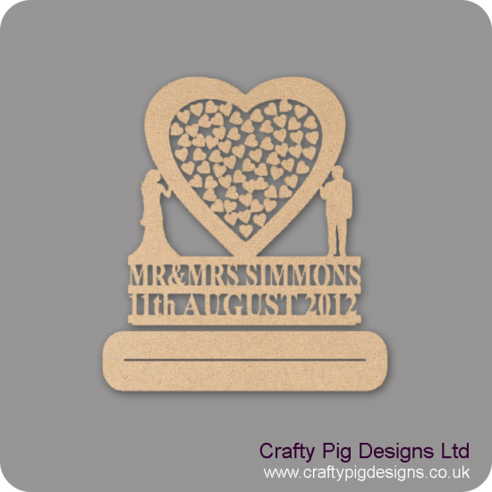 """MDF Wedding Heart Shaped Drop Box with Bride and Groom (personalised with Mr & Mrs """"Surname"""" and date) Personalised and Bespoke"""