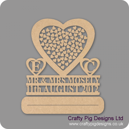 MDF Wedding Heart Shaped Drop Box With Double Line -  Initials Surname And Date