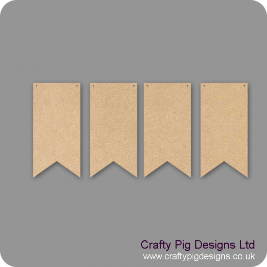 3mm MDF Dovetail Bunting (pack of 10) Choose 7.5cm 10cm or 15cm  Bunting
