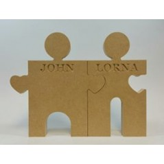 18mm Freestanding Bride And Groom Jigsaw Pieces 18mm MDF Interlocking Craft Shapes