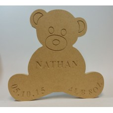 18mm Freestanding Teddy Bear (with Personalised Name, Date and Weight Engraving) Baby Shapes