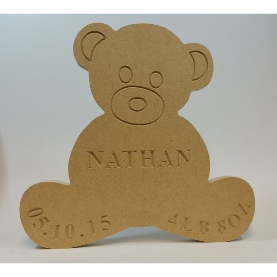 18mm Freestanding Teddy Bear (with Personalised Name, Date and Weight Engraving)