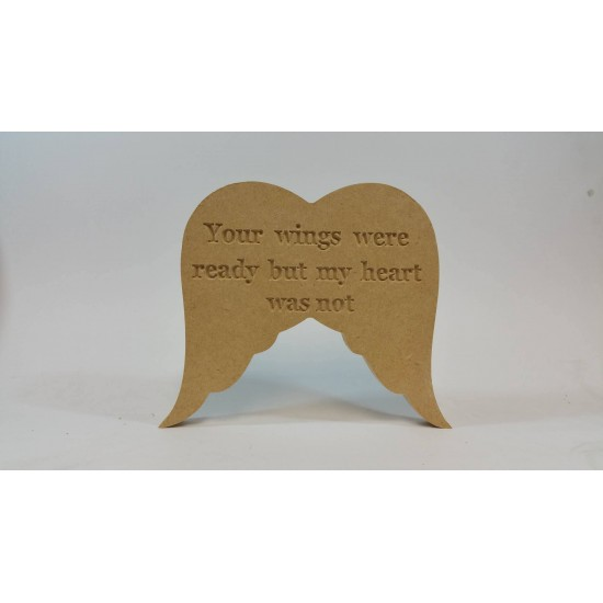 18mm Freestanding Blank or Engraved Angel Wings 18mm MDF Engraved Craft Shapes