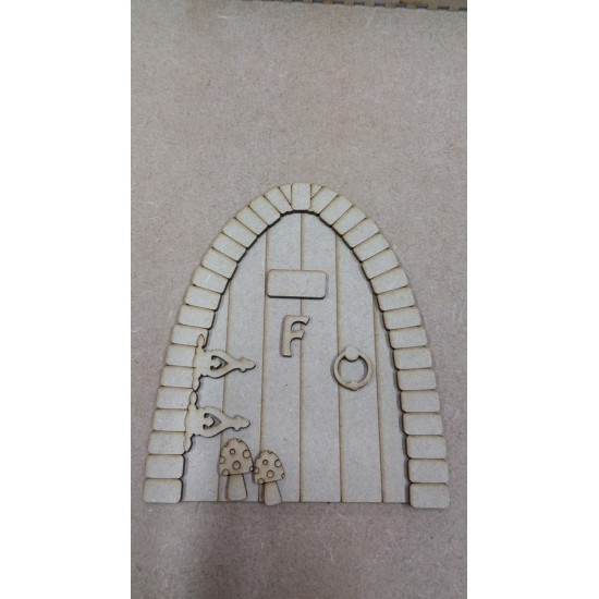 3mm MDF Fairy door with cobbled arch with hinges, toadstools, door handle and sign with letter F (150mm high) Fairy Doors and Fairy Shapes