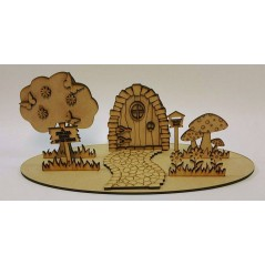 3mm Fairy Door Scene With Path And Tree And Flowers Fairy Doors and Fairy Shapes