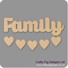 3mm MDF Family Word and Five Hearts - Style 2 Quotes & Phrases