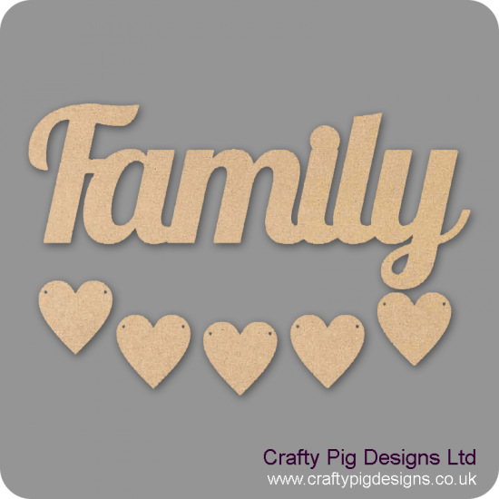 3mm MDF Family Word and Five Hearts - Style 3 Quotes & Phrases