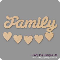 3mm MDF Family Word And Five Hearts - Susa Font Quotes & Phrases