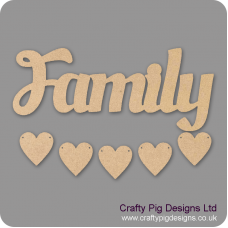 3mm MDF Family Word and Five Hearts - Style 4 Quotes & Phrases