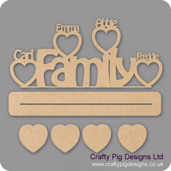 4mm MDF Family plinth design with personalised heart photo frames around
