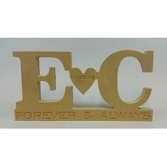 18mm Freestanding Initials And Heart Design (Forever & Always) 18mm MDF Engraved Craft Shapes