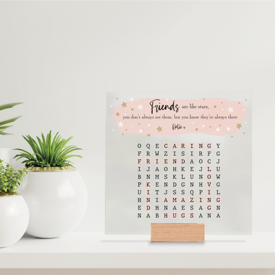 Printed IKEA Ribba or Sannahed Replacement Front Acrylic - Word Search - Friends Are Like Stars Mother's Day