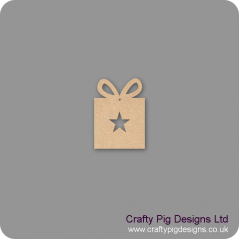 3mm MDF Gift Box hanging decoration with star cut out