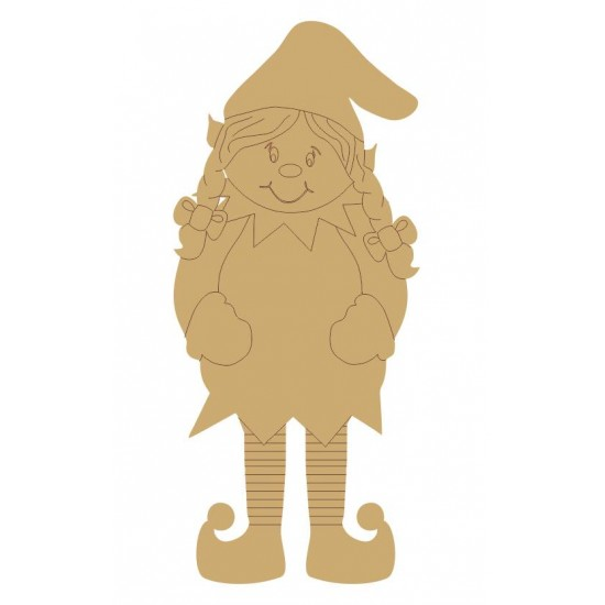 3mm MDF Christmas GIRL Elf (pack of 5)(100mm) Christmas Shapes
