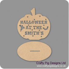 3mm MDF Pumpkin Halloween at the (anyname) on plinth Halloween
