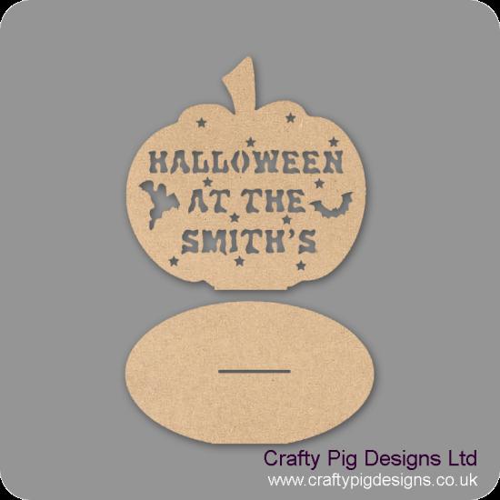 3mm MDF Pumpkin Halloween at the (anyname) on plinth Halloween