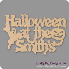 3mm MDF Halloween at the (anyname) hanging sign