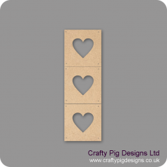 3mm mdf Heart Photo Frames - set of 3