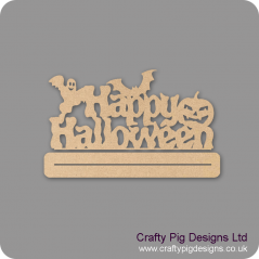 3mm MDF Happy Halloween sign on plinth